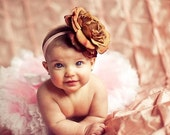 Milk Chocolate Brown Real Feel Peony Flower with Beautiful Bling Center Nylon Headband Free Shipping On All Additional Items