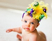 Mardi Gras Purple Green and Gold Over The Top  Bow on matching Headband Free Shipping On All Addional Items