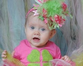 St. Patrick's Day Hot pink, Light pink and Green Over The Top  Bow on Matching Headband Free Shipping On All Addional Items