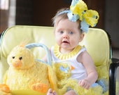 Large Double Layered Blue and Yellow Double Ruffle Bow with Headband of Choice Free Shipping On All Additional Items