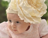 Infant Toddler Girl Crocheted Beanie Cream Hat with Cream Flower Free ShippingOn All Additional Items