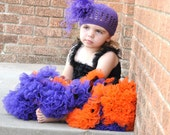 Halloween Deep Dark Purple Crocheted Beanie Infant Toddler Girl with Purple Curly Ostrich Puff Kufi FREE SHIPPING On All Additional Items