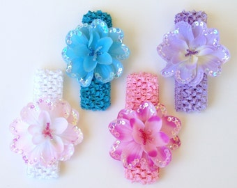 Gift Set Lot of 4 Sequin Flower with Beaded Center attached to 4 Crocheted Headband Free Shipping On All Additional Items