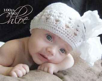 White  Large Double Layered Double Ruffle Bow with Infant Crocheted Beanie Hat Free Shipping On All Additional Items