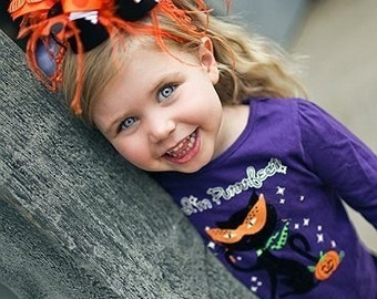 Halloween Orange and Black Zebra Over The Top Funky Bow with Ostrich Puff on interchangeable headband Free Shipping On All Additional Items