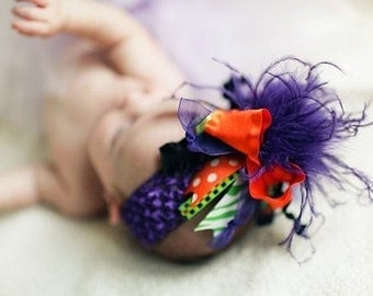 Halloween Over The Top Funky Bow Orange Black Lime Purple with Ostrich Puff on interchangeable headband FREE SHIPPING ON ALL ADDITIONAL ITEMS