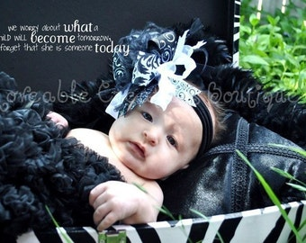Black and White Over The Top Funky Bow Free Shipping On All Additional Items