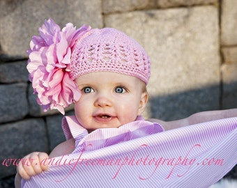 HUGE Pink Peony Hair Flower Attached to Crocheted Beanie Hat Free Shipping On All Additional Items