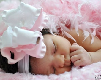 Large Double Layered Light Pink and White Double Ruffle Bow with Crocheted Headband Free Shipping On All Additional Items