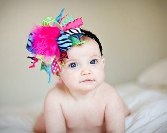 Hot Pink, Turquoise, Lime, Zebra Over The Top Boutique Hair Bow on Matching Headband Free Shipping On All Addional Items