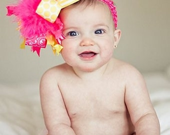 Shades of Yellow and Shocking Pink Over The Top  Bow on Matching Headband Free Shipping On All Addional Items