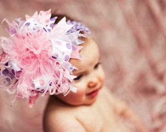 Pink and Lavendar Over The Top Boutique Hair  Bow on matching Headband Free Shipping On All Addional Items