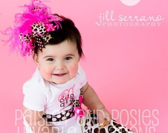 Hot pink and Brown Leopard Over The Top  Bow on matching Headband Free Shipping On All Addional Items
