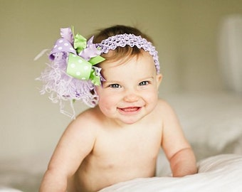Lavender Purple and Green Over The Top Boutique Hair  Bow on Matching Headband Free Shipping On All Addional Items