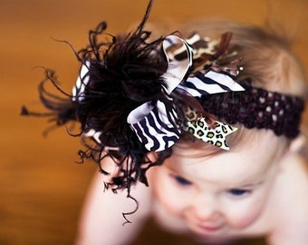 Zebra Giraffe Leopard  Over The Top Boutique Hair Bow on Matching Headband Free Shipping On All Addional Items