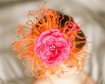 Orange Curly Ostrich Puff with Hot Pink Rhinestone Center Flower and Crocheted Headband Free Shipping On All Additional Items