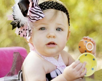 More Pink Zebra Over The Top  Bow on Matching Headband Free Shipping On All Addional Items