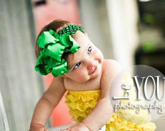 Large Double Layered Kelly Dark Green Double Ruffle Bow with Crocheted Headband of Choice Free Shipping On All Additional Items