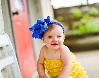 Large Double Layered Royal Double Ruffle Bow with Crocheted Headband of Choice Free Shipping On All Additional Items