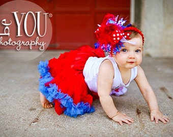 Red White and Blue 4th of July Patriotic Over The Top Funky Bow with Headband of Choice Free Shipping on all Additional Items