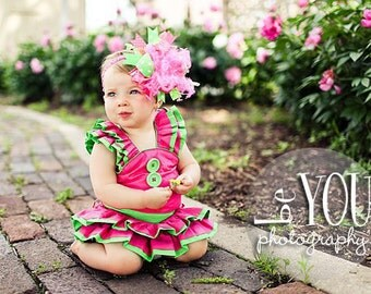Hot Pink and Lime Over The Top Boutique Hair Bow M2M Mud Pie Little Sprout on Matching Headband Free Shipping On All Addional Items