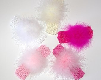 Set of Small Marabou Puff Poofs on Interchangeable Headbands Free Shipping on All Additional Items