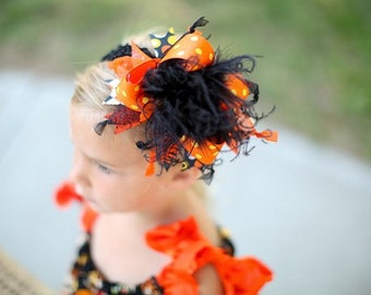 Halloween Over The Top Funky Bow Black Orange and Yellow with Ostrich Puff on headband Free Shipping On All Additional Items