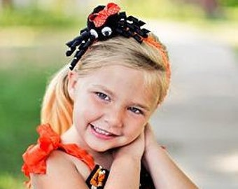 Halloween Over The Top Orange and Black Spider on Headband Free Shipping On All Additional Items