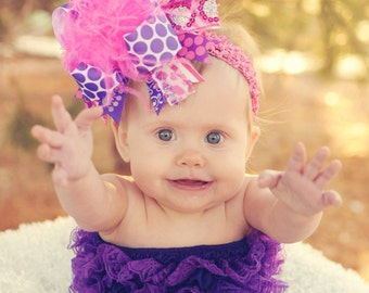 Dark Purple and Hot Pink Over The Top Funky Boutique Hair Bow on Matching Headband Free Shipping On All Addional Items