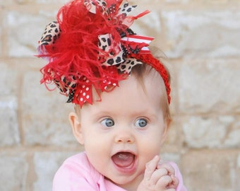 Red and Leopard Over The Top Funky Boutique Hair Bow Free Shipping On All Addional Items