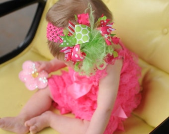 New Medium Size Shocking Pink and Lime Over The Top  Bow on matching Headband Free Shipping On All Addional Items