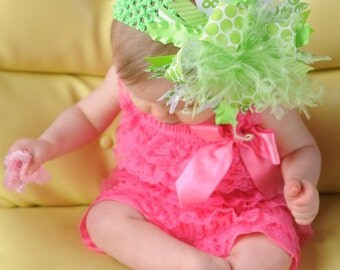 Lime Green Over The Top Boutique Hair Bow on Matching 1.5 inch Headband Free Shipping On All Addional Items