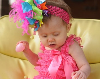 Rainbow Bright Over The Top  Bow on Matching 1.5 inch Headband Free Shipping On All Addional Items