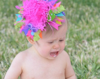 Bright Lime Apple Aqua Purple Orange and Neon Pink Over The Top Boutique Bow on Matching Headband M2M Carters