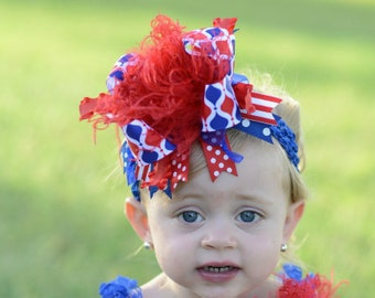 Red White and Blue 4th of July Patriotic Over The Top Funky Boutique Hair Bow with Headband of Choice Free Shipping on all Additional Items