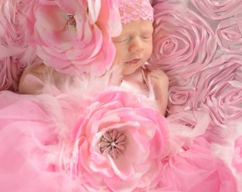 Pink Ruffle Ranuculus Boutique Flower with Rhinestone Bling Center with Pink Feathers on Pink Lace Headband