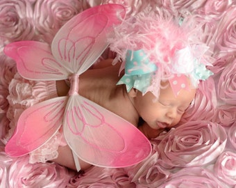 Aqua Pink Over The Top Funky Boutique Hair Bow with Headband of Choice Free Shipping on all Additional Items
