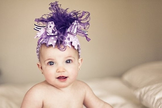 Shades of Purple Zebra Over The Top  Bow on Matching Headband Free Shipping On All Addional Items