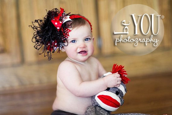 Sock Monkey Red and Brown Over The Top Boutique Hair Bow M2m Mud Pie on Matching Headband Free Shipping On All Addional Items
