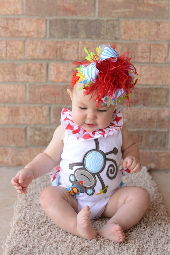 Red Turquoise Lime Yelow Zebra Circus Over The Top Boutique Hair Bow M2M Mud Pie on Matching Headband Free Shipping On All Addional Items