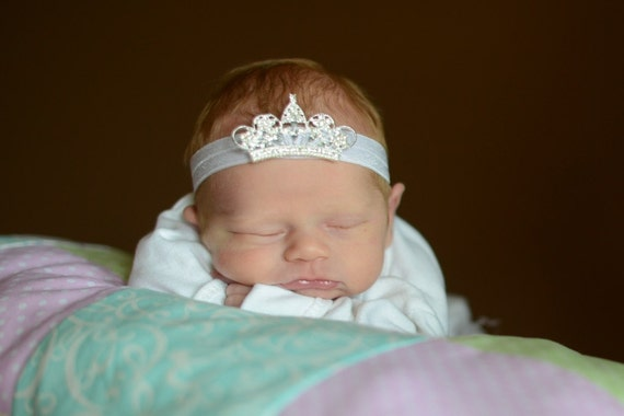 Silver Bling Princess Crown On White Elastic Headband Free Shipping On All Additional Items