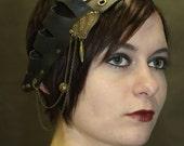 Rara Avis series: Leather adorned headband - one of a kind