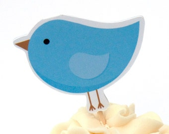 Bird Party - Set of 12 Blue Birdie Cupcake Toppers by The Birthday House