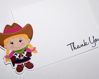 Cowgirl Party - Set of 8 Little Cowgirl Thank You Cards by The Birthday House