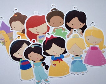 Princess Party - Set of 10 Assorted Princess Favor Tags by The Birthday House