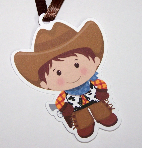 Cowboy Party - Set of 10 Little Cowboy Favor Tags by The Birthday House