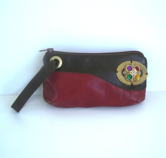 Red & Brown Leather Wristlet
