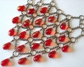 Red Necklace: Copper and Scarlet Harlequin Drops