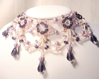 Pink & Purple Victorian Choker: Beaded Necklace with Pink and Purple Crystals, Lavender Pearls, and Creamy Seed Beads