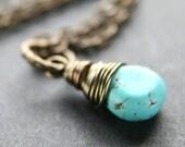 SALE 20% OFF - Turquoise Teardrop Brass Necklace
